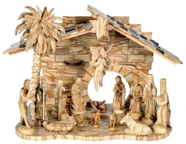 Fine Large Indoor Nativity Scene Set (Musical) - Brown, 1 Nativity