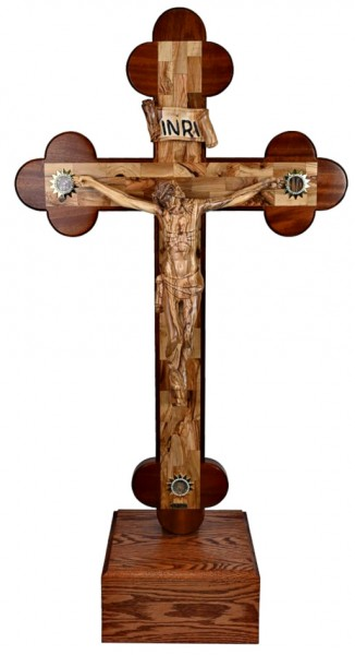 Large 4 Foot Standing Byzantine Crucifix - Brown, 1 Crucifix