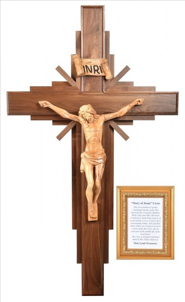 "Large 4' Foot ""Story of Jesus"" Wall Crucifix - Brown, 1 Crucifix"