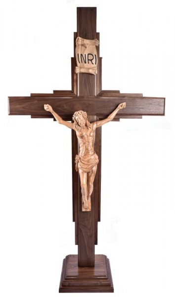 "Large 6' 4"" Standing Contemporary Carved Wooden Crucifix - Brown, 1 Crucifix"
