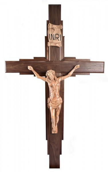 Large 6' Walnut and Olive Wood Contemporary Wall Crucifix - Brown, 1 Crucifix