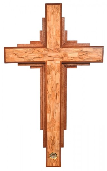 Large Contemporary 4 Foot Wooden Wall Cross - Brown, 1 Cross