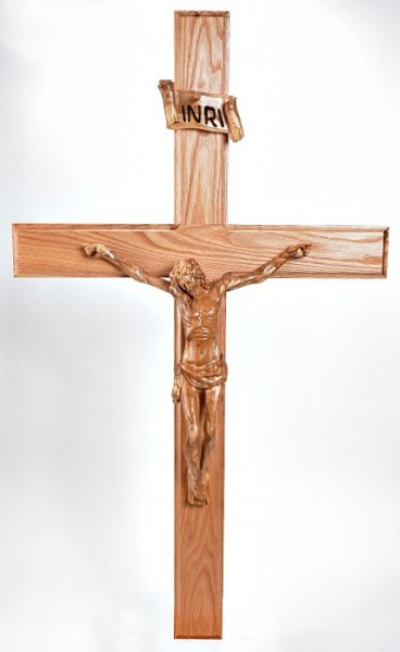Large Four Foot Olive Wood and Oak Wall Crucifix - Brown, 1 Crucifix