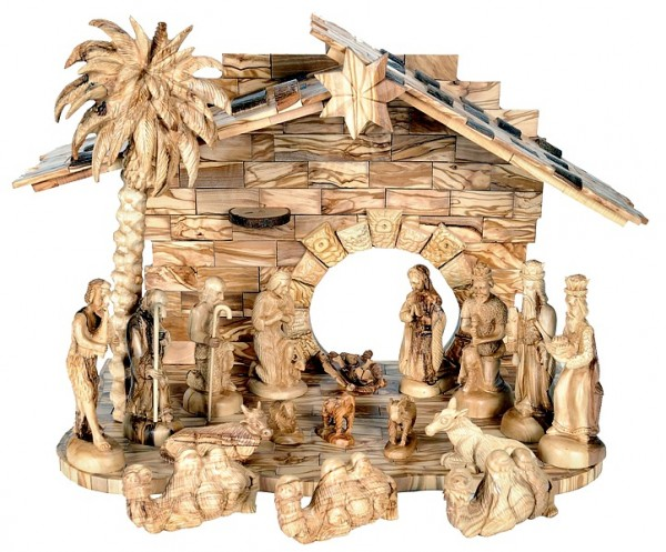 Large Indoor Musical Nativity Scene - Brown, 1 Nativity
