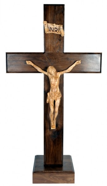 "Large Standing (4'4"") Carved Wooden Crucifix - Brown, 1 Crucifix"