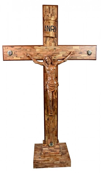 "Large Standing 6'4"" Olive Wood Crucifix - Brown, 1 Crucifix"