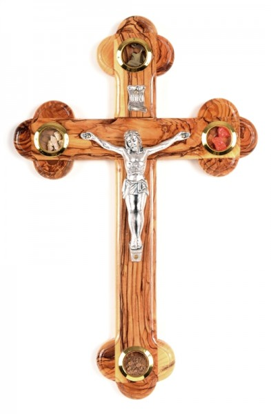 Wholesale Olive Wood 8.5 Inch Wall Crucifixes with 4 Articles - 400 @ $15.60 Each