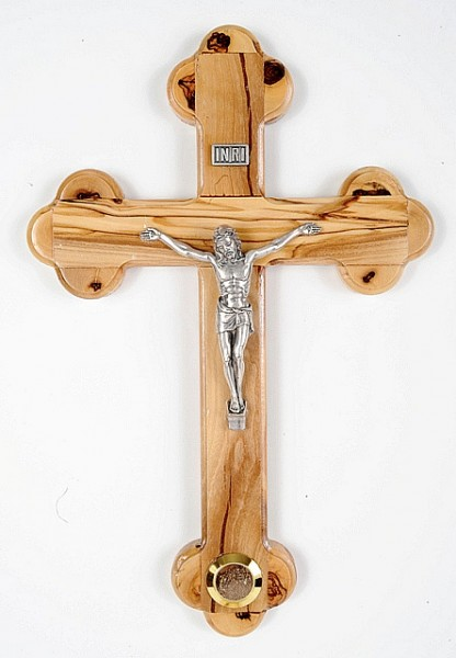 Olive Wood Wall Crucifix with Soil - Brown, 1 Crucifix