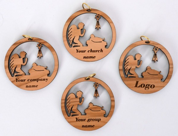 Wholesale Personalized Engraved Olive Wood Christmas Ornaments - 3,000 @ $1.68 Each
