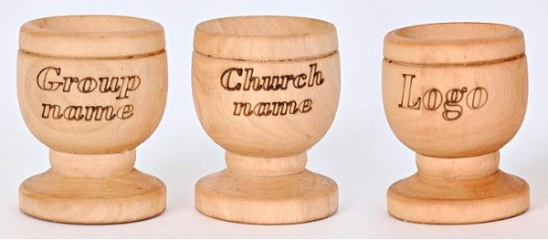 Wholesale Personalized Engraved Olive Wood Communion Cups - 10,000 @ $1.28 Each