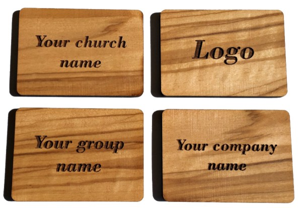 Wholesale Personalized Engraved Olive Wood Refrigerator Magnets - 1,000 Magnets @ $3.75 Each