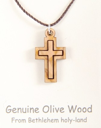 Small Wooden Cross Necklace (Also priced to buy in bulk) - Brown, 1 Necklace