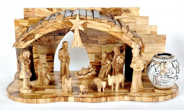 Unique Musical Nativity Set with Candle - Brown, 1 Nativity