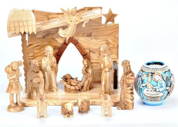 Unique Olive Wood Nativity Scene - Brown, 1 Nativity