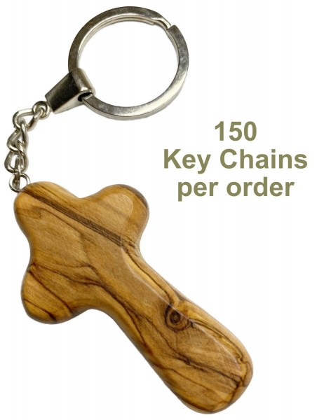 Wholesale Olive Wood Comfort Cross Keychains - 150 @ $2.30 Each