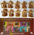 Bulk Small Olive Wood Nativity Scenes (Ornaments)