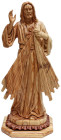 Olive Wood Divine Mercy Statue 12.5 Inches Tall