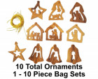 Small Nativity Christmas Ornaments |10 Assorted in Bag