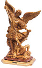 St. Michael the Archangel Statue Olive Wood 12.5 Inches Tall