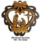 Wholesale Olive Wood Ornament Holy Family Manger Heart Shape