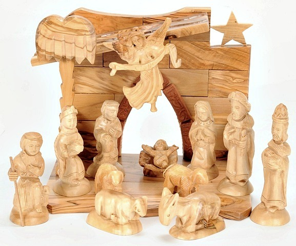this indoor nativity scene is hand carved in the manger street olive wood carving shop of christian artisan jeries facouseh just a few minutes walk from - Wooden Nativity Set