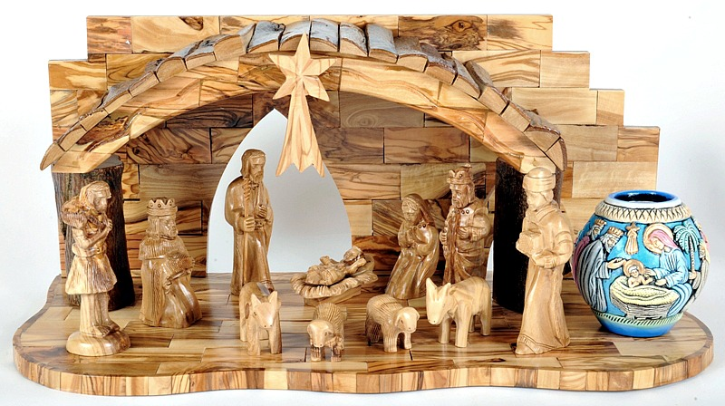 Hand Carved Wooden Christmas Nativity Set Musical Holy Land