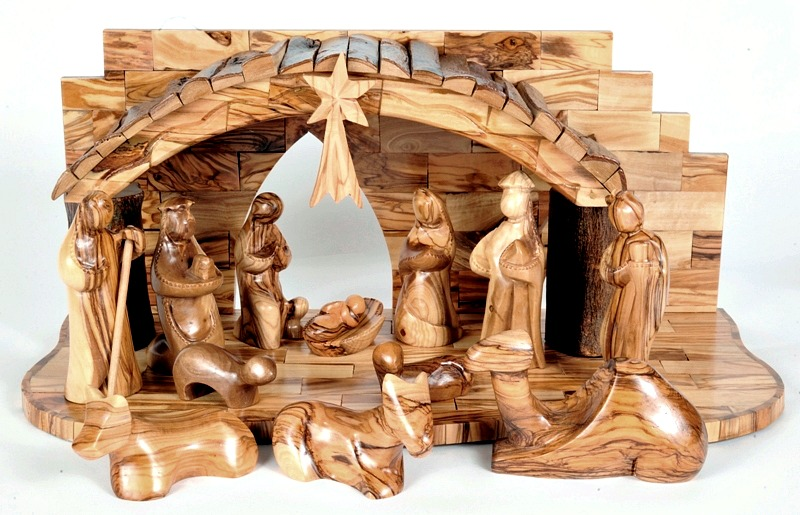 this unique olive wood nativity set is offered exclusively online here at holy land treasures - Wooden Nativity Set