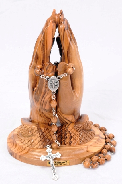 catholic praying hands statue with rosary holy land treasures